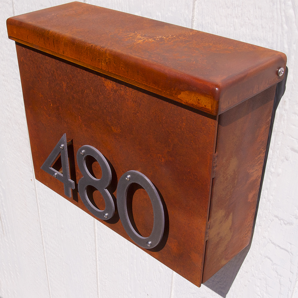 Custom Modernist Floating House Number Mailbox No 1310 In