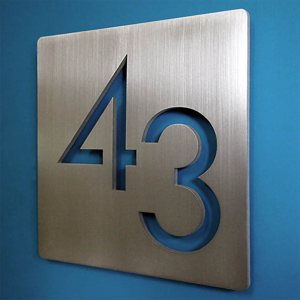 Custom modern 9 square floating house numbers stainless for Modern house number plaques