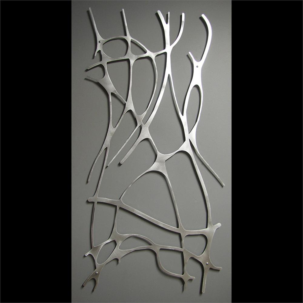 Art Deco Wall Art art nouveau web 4 panel in brushed aluminum wall sculpture