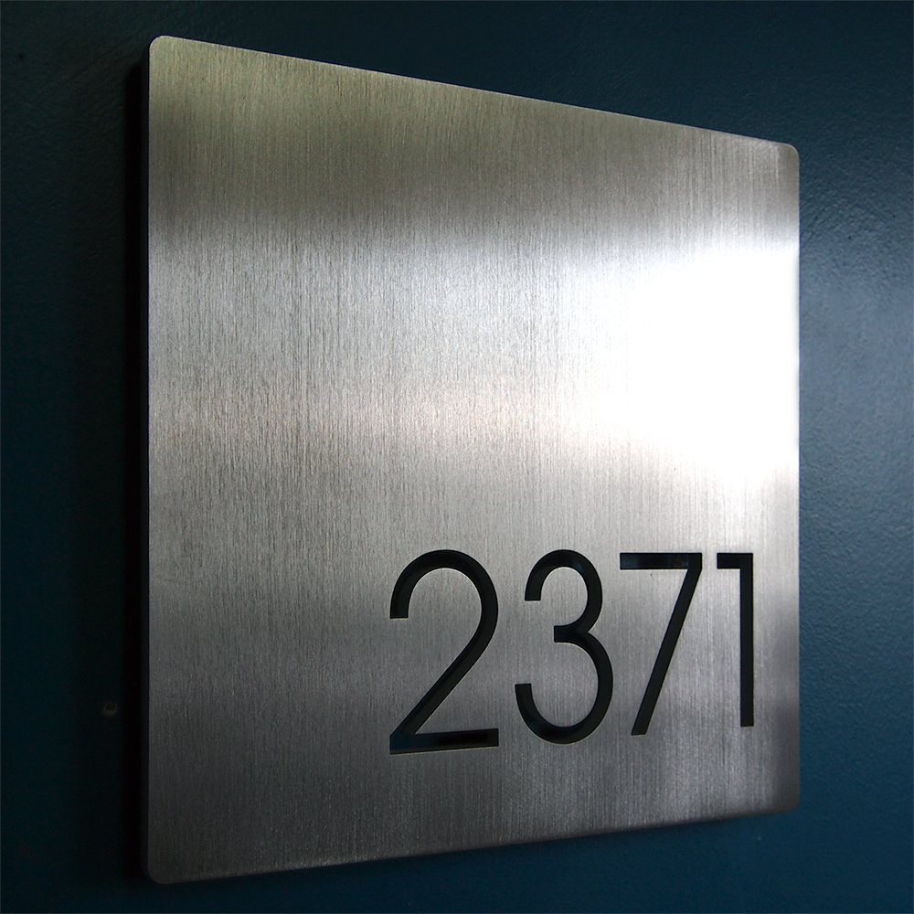Custom minimalist square house number sign in aluminum for Contemporary house names