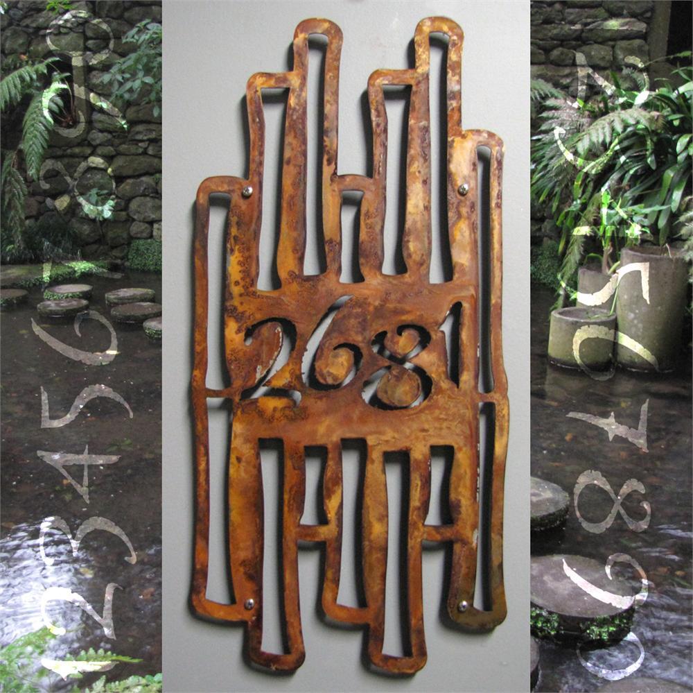 Custom Asian Garden Bamboo House Number Sign