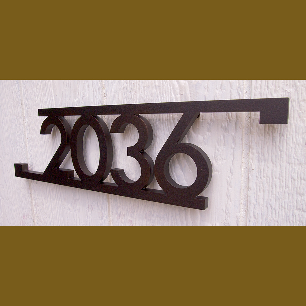 Custom Modern Bars Squares House Number Sign In Powder