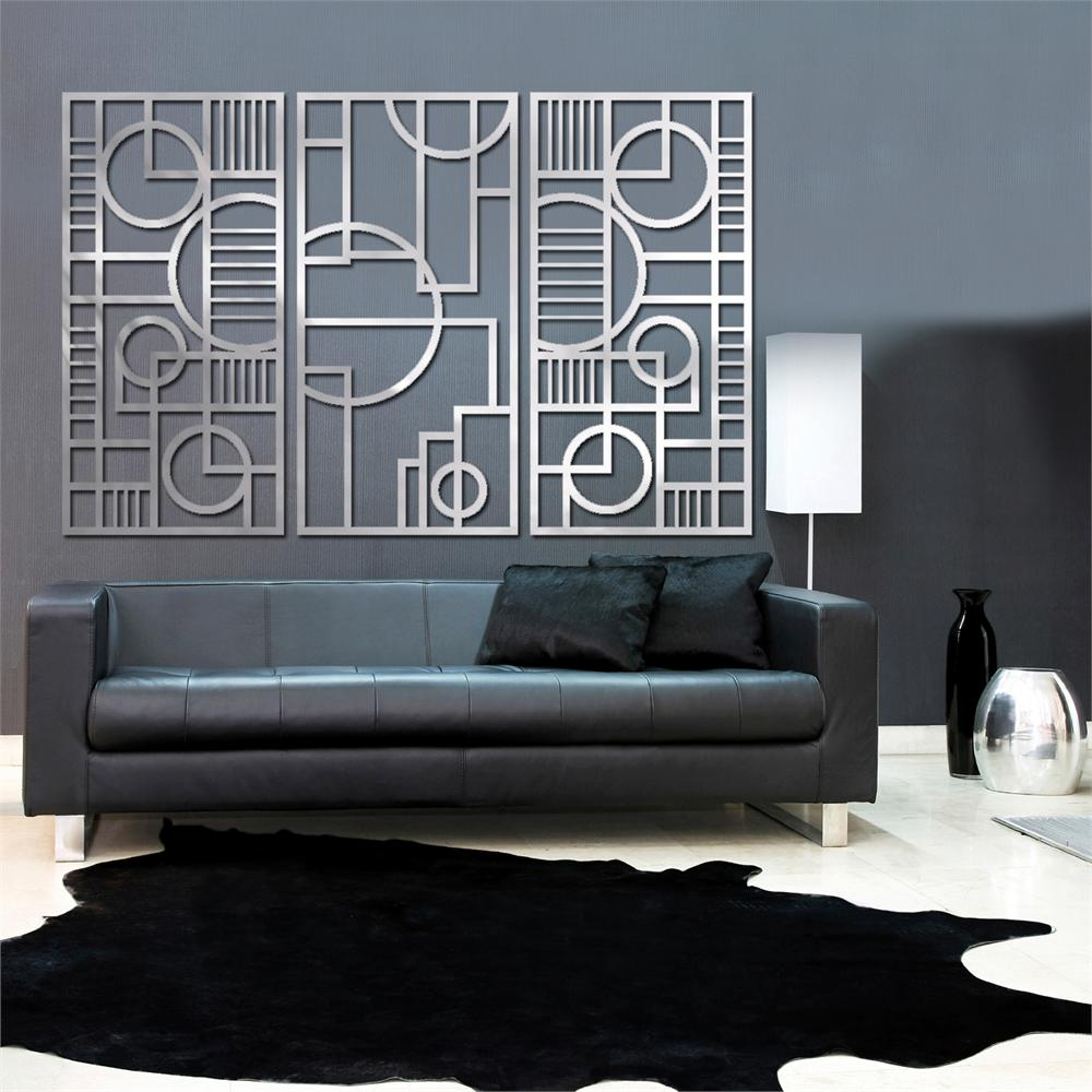 Wall Decor For Black Wall : Deco panel trio in brushed aluminum