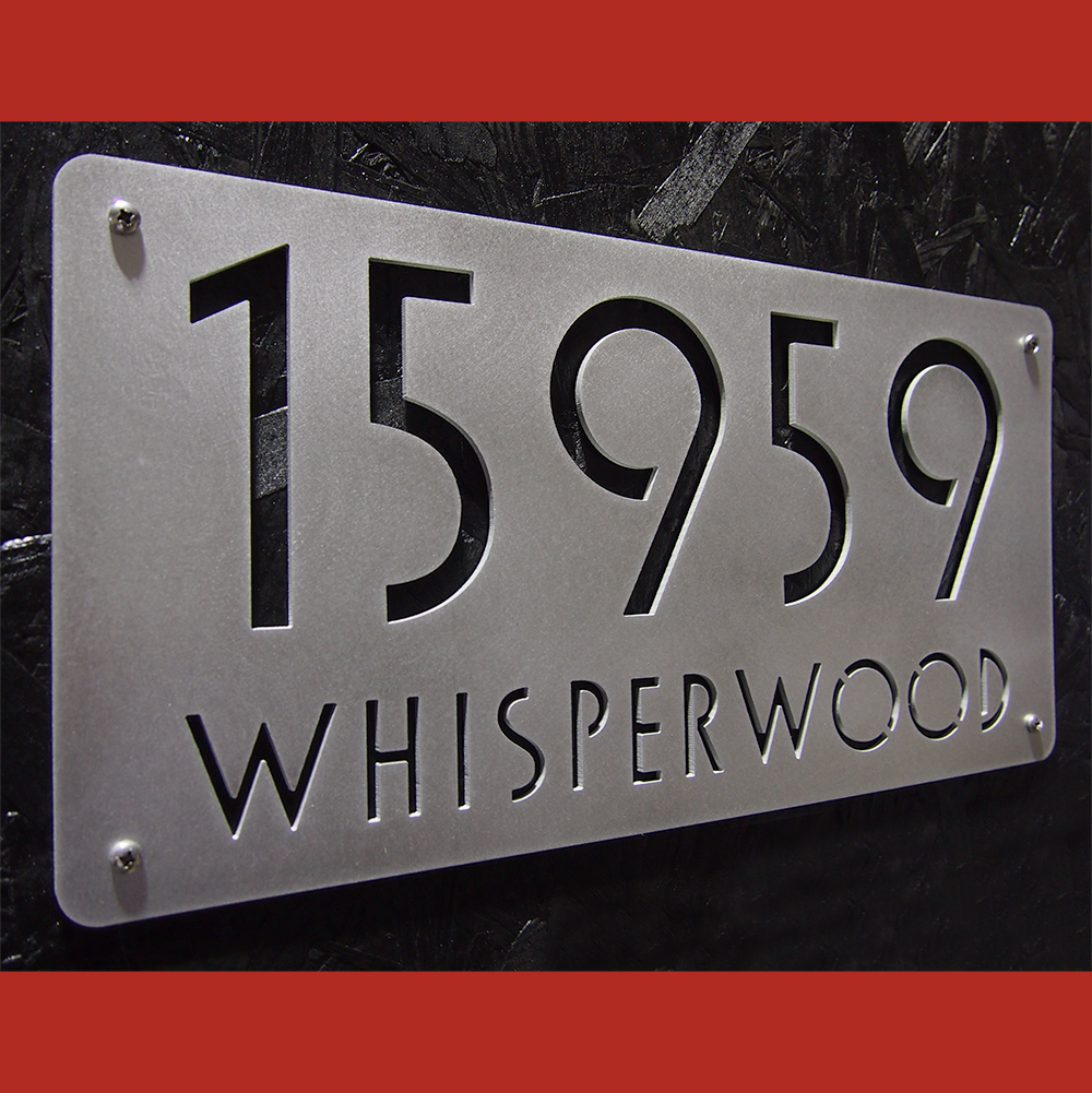 Custom euro deluxe address sign in hand brushed aluminum for Modern house number plaques