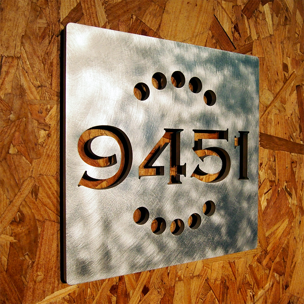 Custom deco square house number sign in aluminum - Decorative house number signs ...