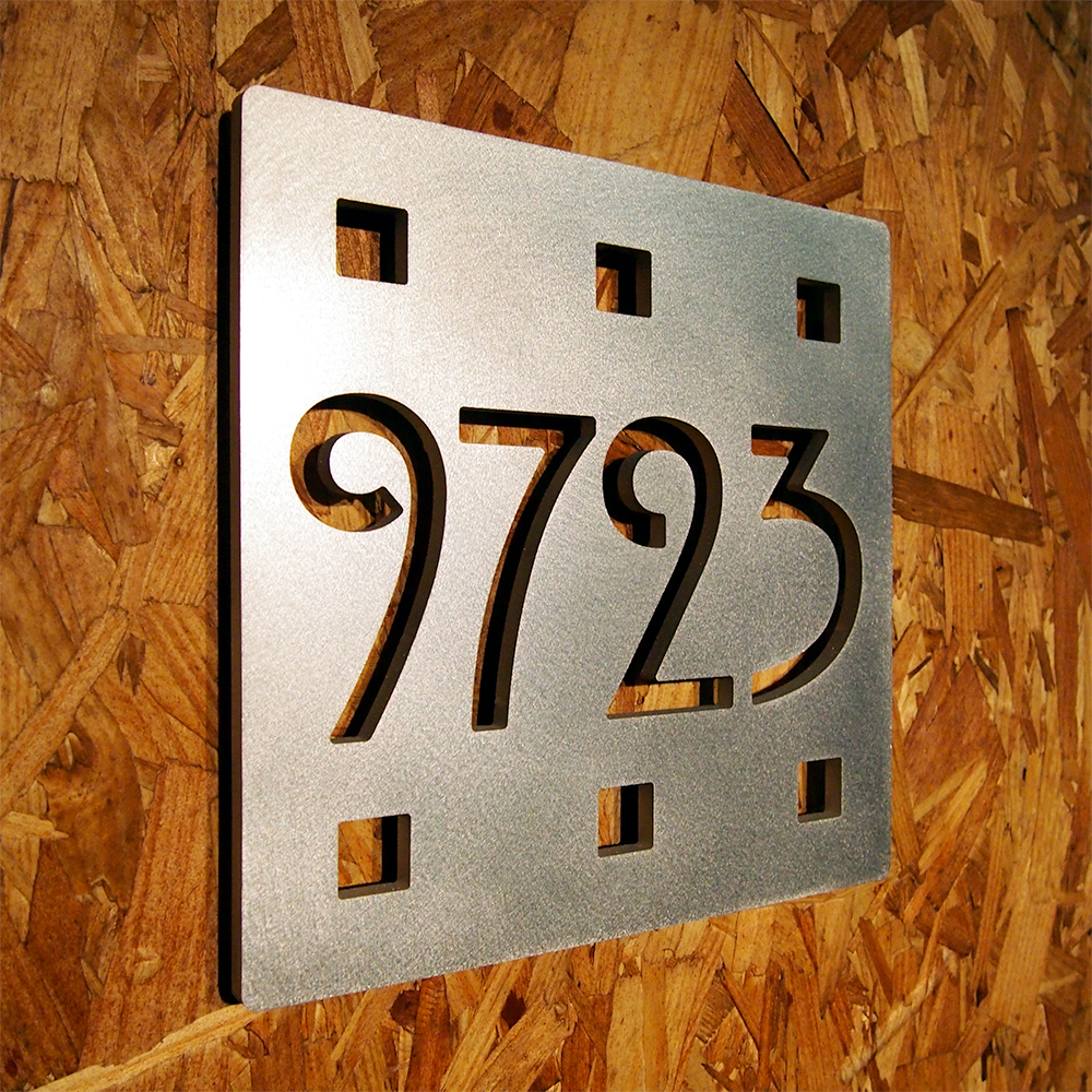 Custom mission square house number sign in aluminum - Decorative house number signs ...