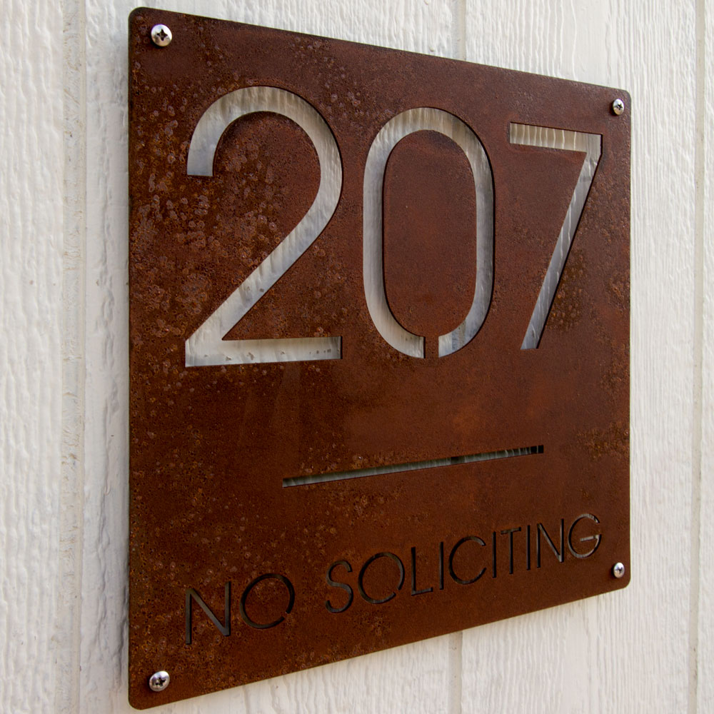 Custom minimalist square house number and no soliciting for Minimalist house numbers