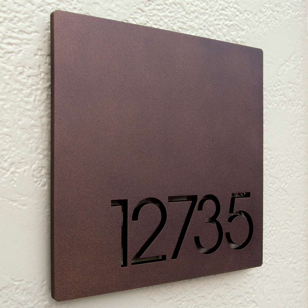 Custom Minimalist Square Floating House Number Sign In
