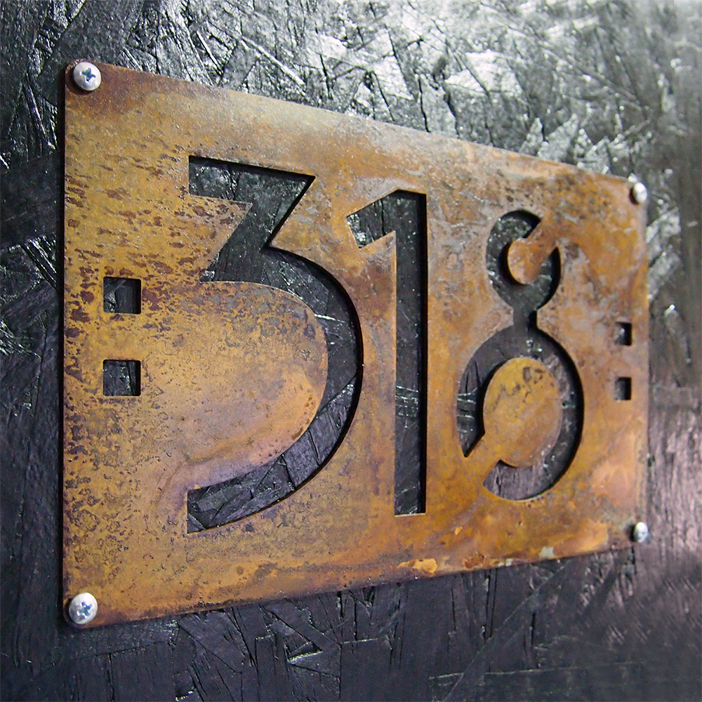 Custom Mini Mission Style House Numbers In Rusted Steel