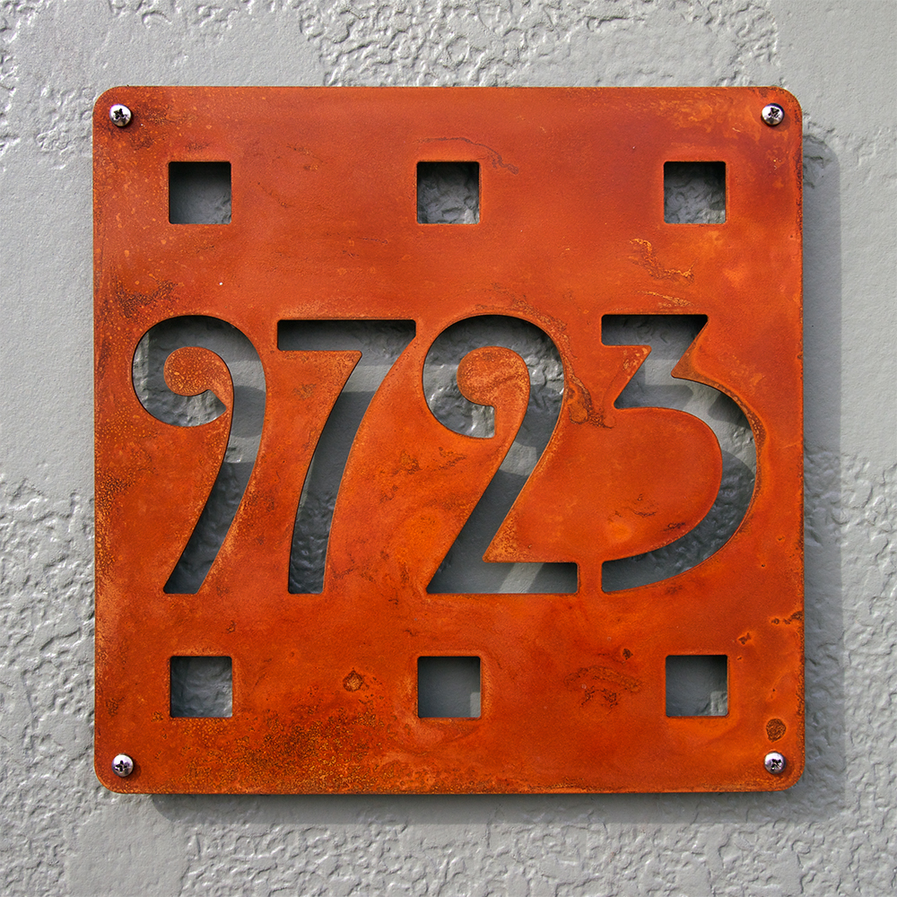 Custom mission square house number sign in rusted steel - Decorative house number signs ...