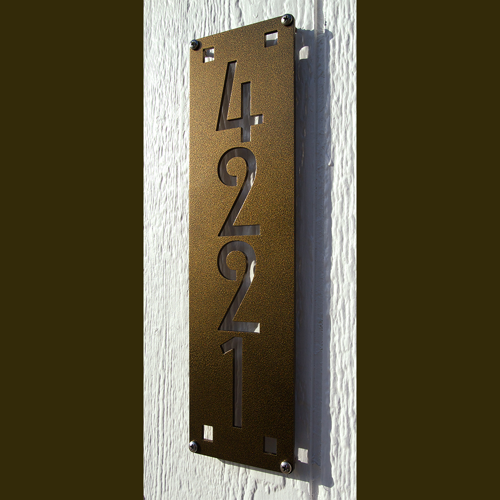 Custom mission style vertical house numbers 14 powder coated aluminum