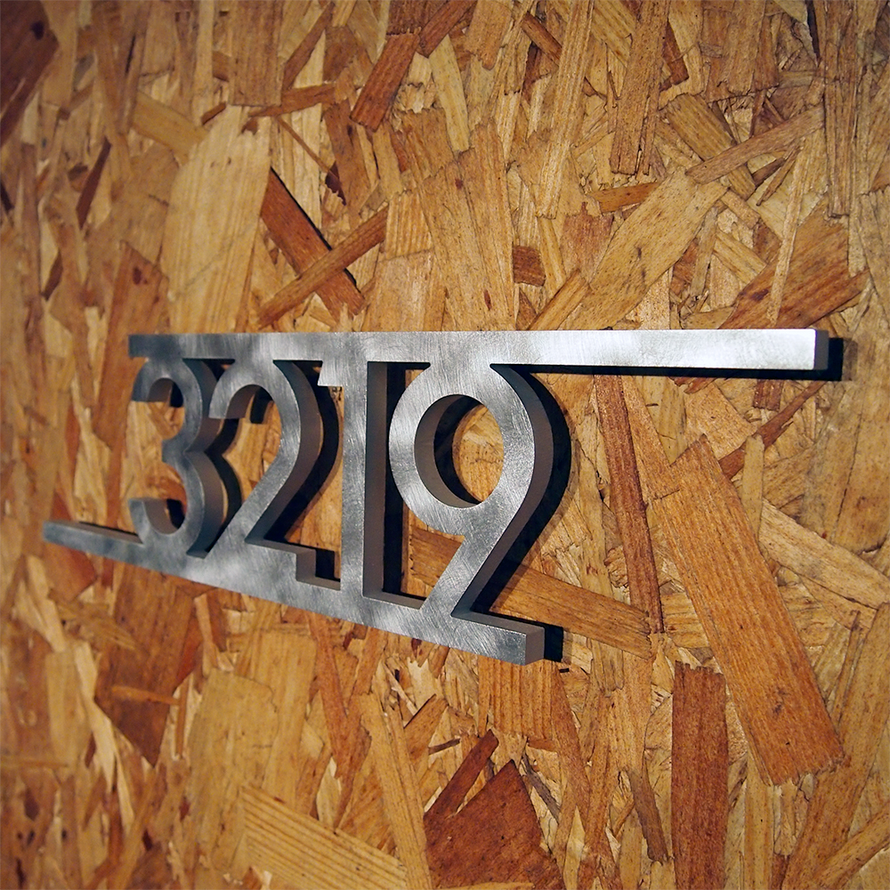 Custom modern bars house number sign in aluminum - Decorative house number signs ...