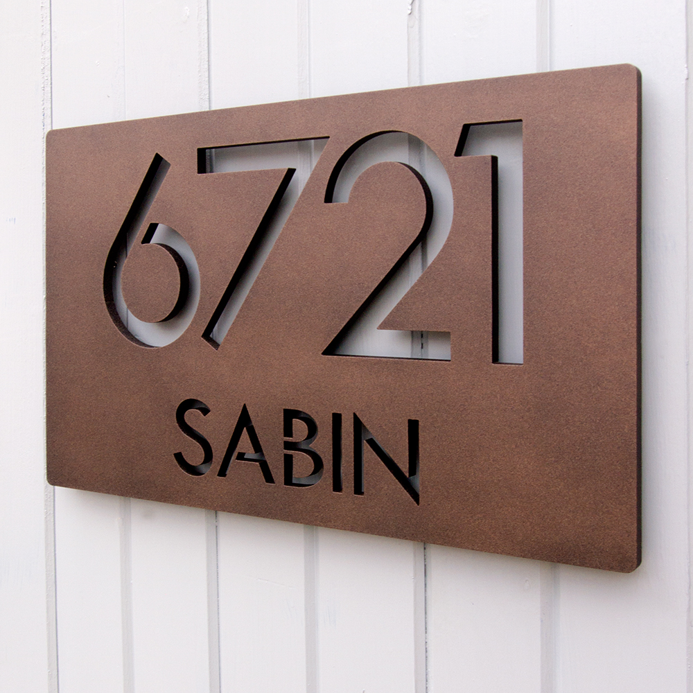 Custom modern deluxe floating address sign in powder coated aluminum - Decorative house number signs ...