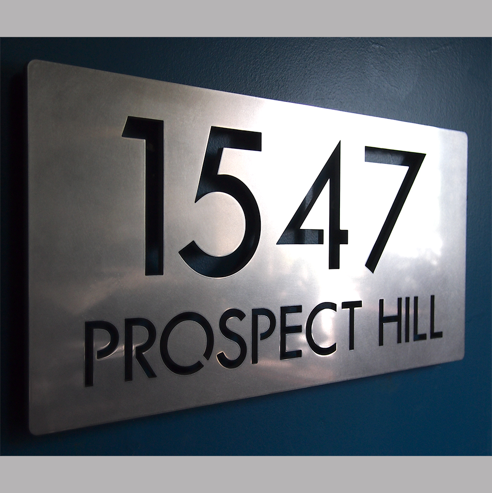 Custom modern deluxe floating address sign in stainless for Modern house number plaques