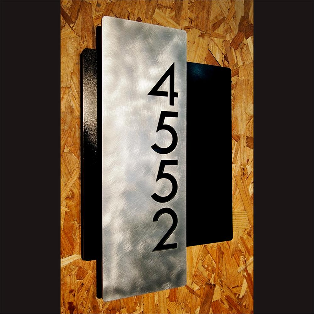 ustom Modern Layered Floating House Numbers Vertical Offset in ... - ^