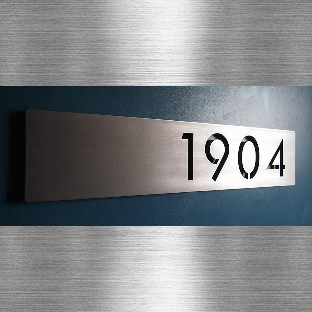 Custom modern floating house numbers horizontal offset in brushed stainless steel