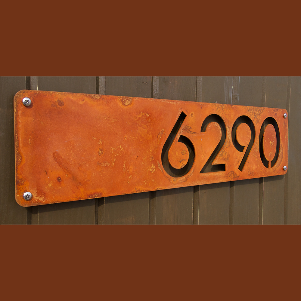 Custom modern house numbers horizontal offset in rusted steel