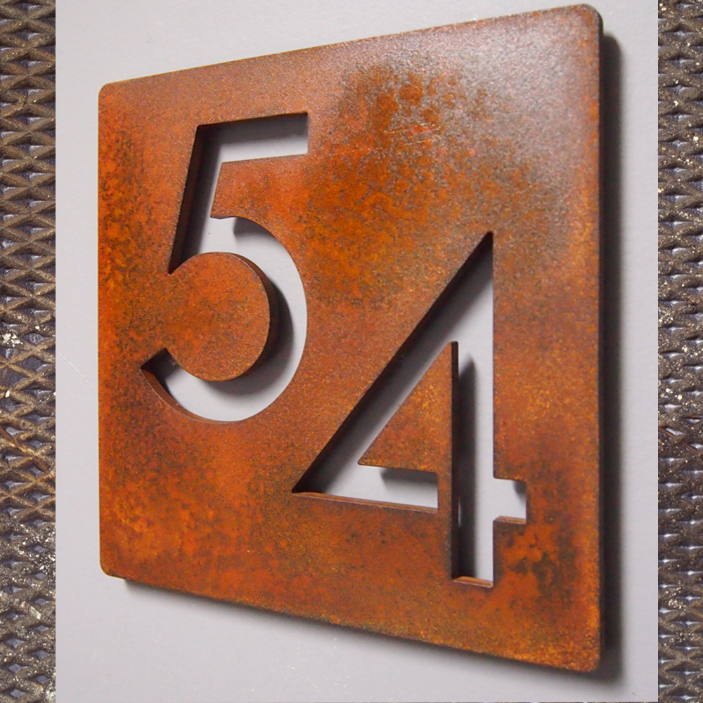 Custom modern 9 square floating house numbers rusted steel