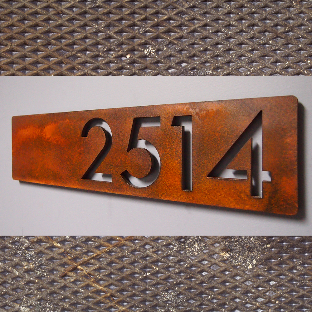 Custom Modern Floating House Numbers Horizontal Offset in Rusted Steel
