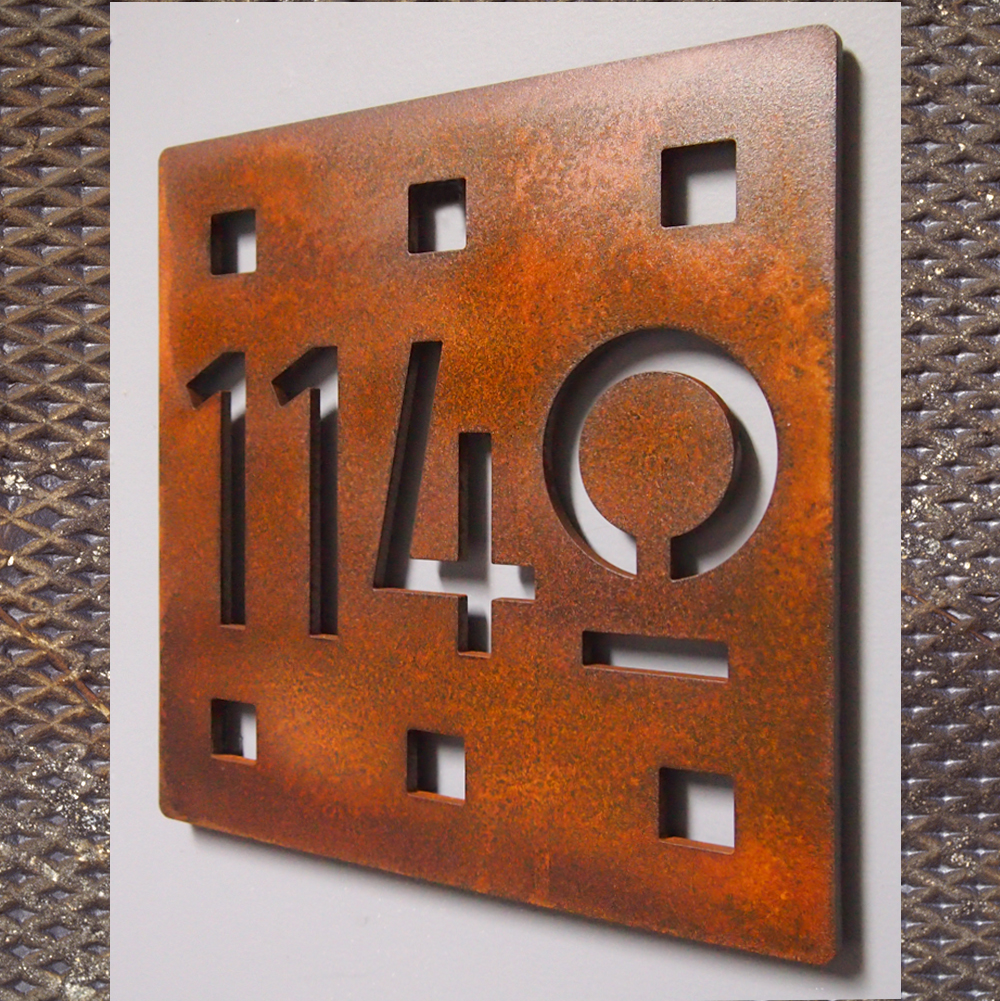 Custom floating mission square house number sign in rusted for House numbers