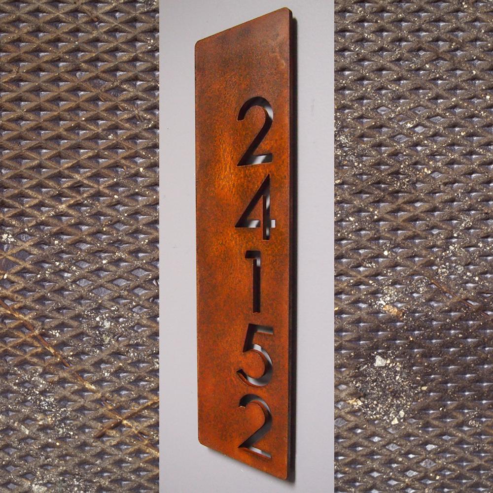 Custom Modern Floating House Numbers Vertical Offset in Rusted Steel