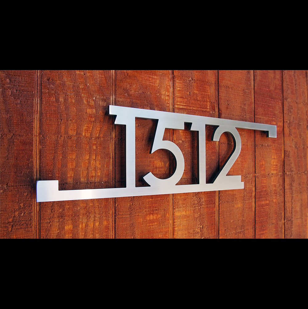 Custom Modern Bars Squares House Number Sign In Stainless
