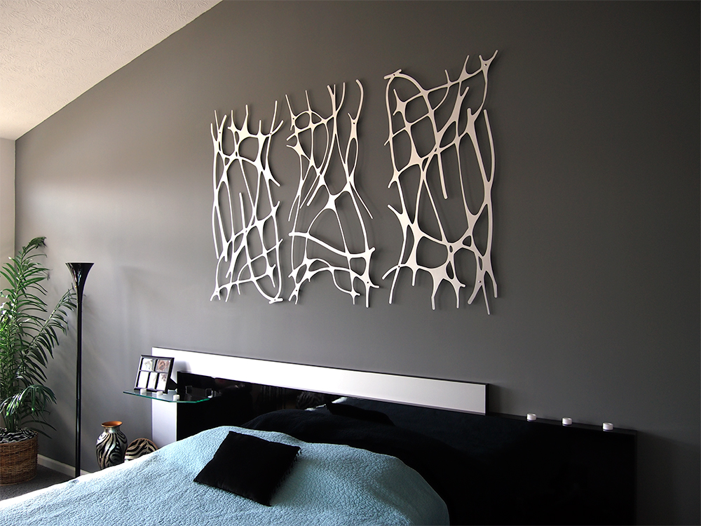 Art nouveau web trio in brushed aluminum wall sculpture for Mural art designs for bedroom