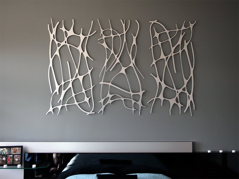 art nouveau web trio in brushed aluminum wall sculpture