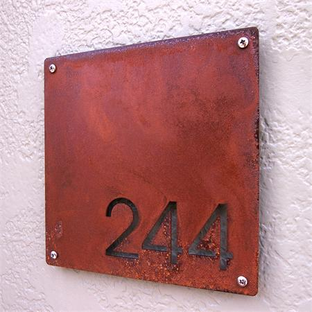 Custom minimalist square house number sign in rusted steel for Minimalist house numbers