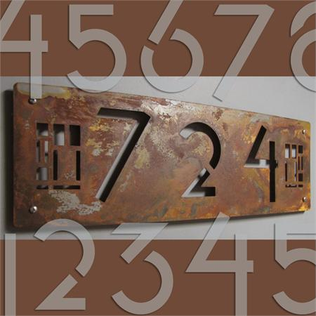 custom prairie style house numbers in rusted steel
