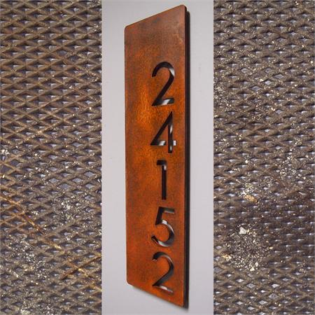 Custom modern floating house numbers vertical offset in rusted steel - Decorative house number signs ...