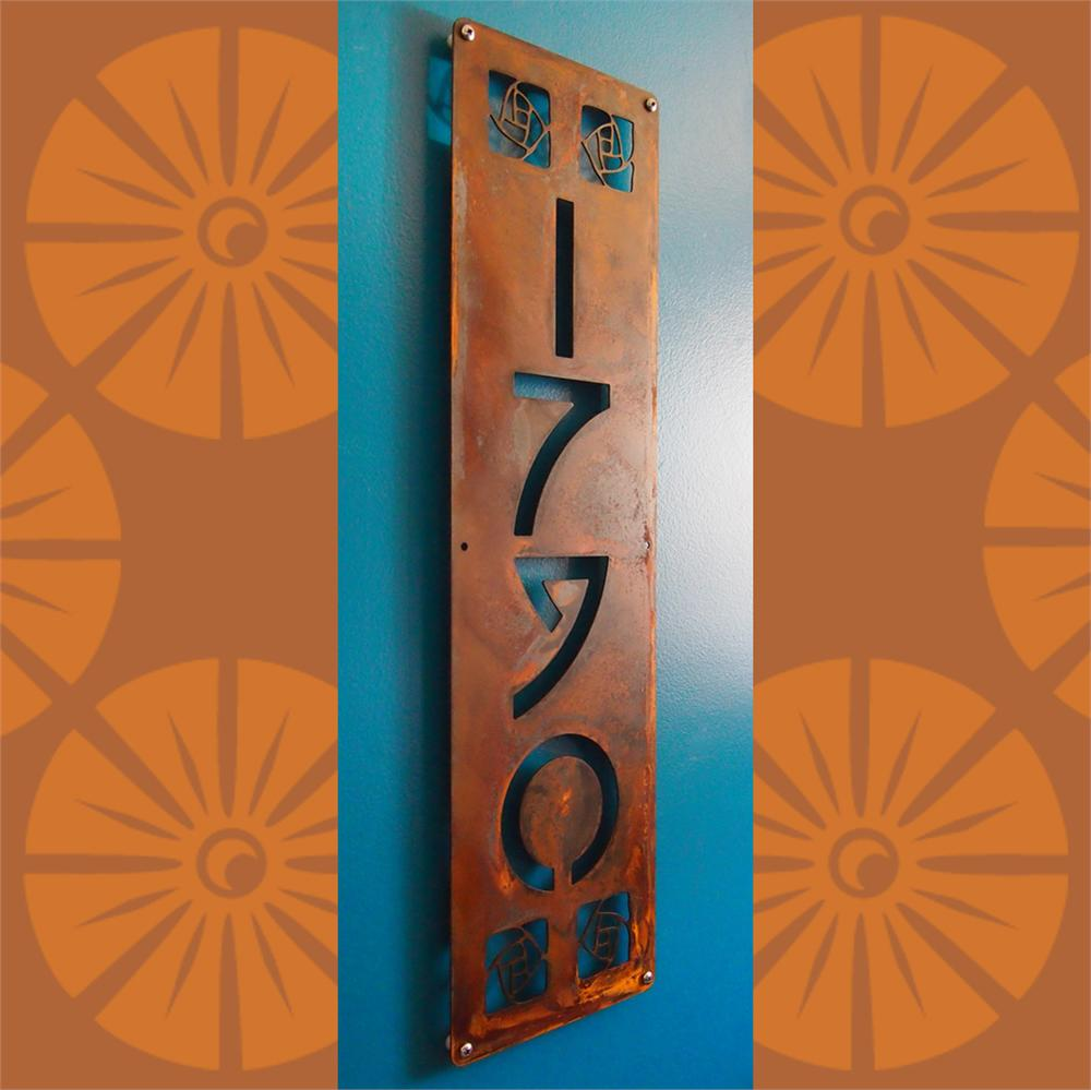 Custom Arts Amp Craft Style Vertical House Numbers In Rusted