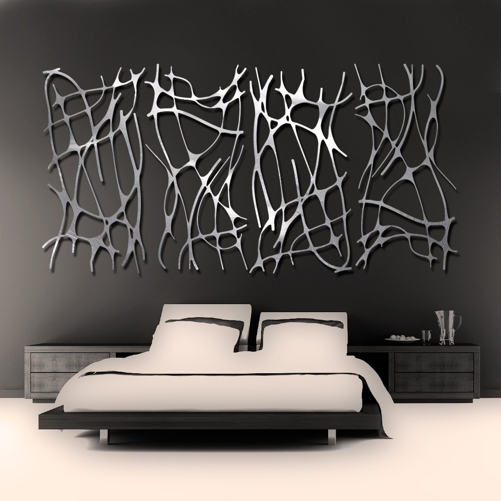 Art nouveau web 4 panel in brushed aluminum wall sculpture for Aluminium decoration