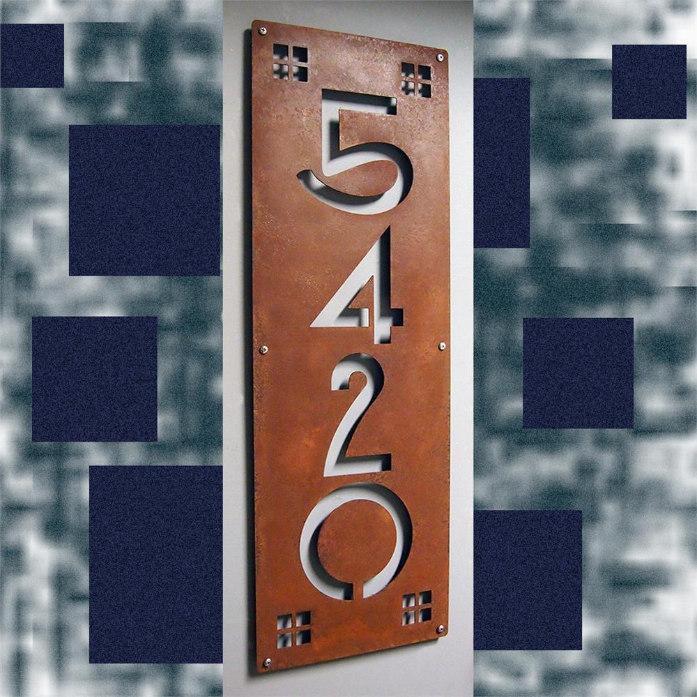 Custom Craftsman Ultra Wide Vertical House Numbers In