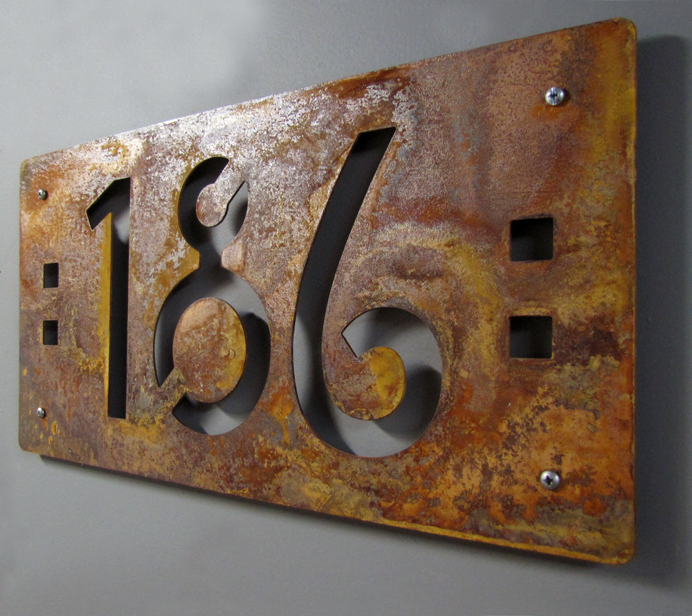 Custom Mission Style House Numbers In Rusted Steel