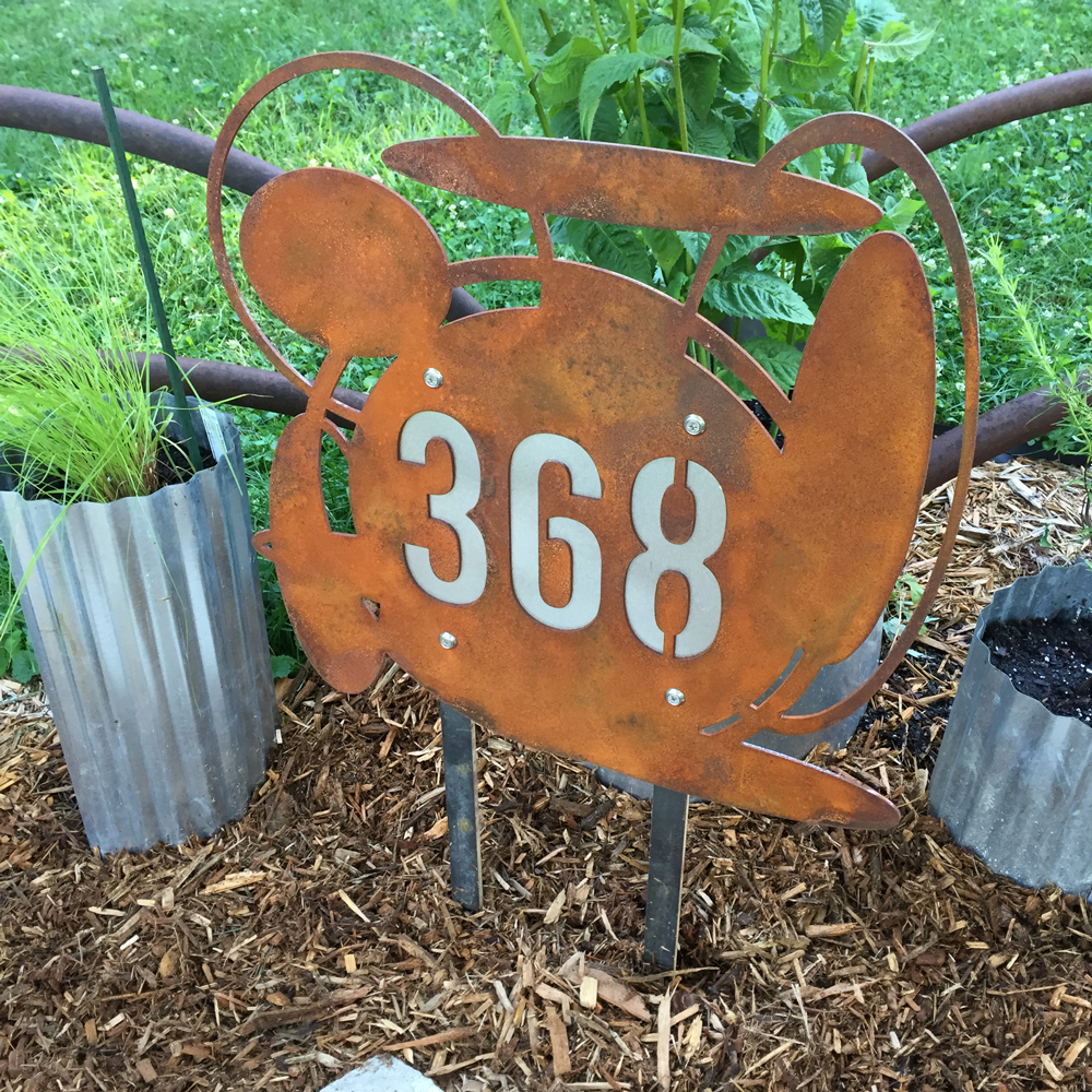 CUSTOM Into Space Address Sign in Rusted Steel & Stainless Ground Stakes