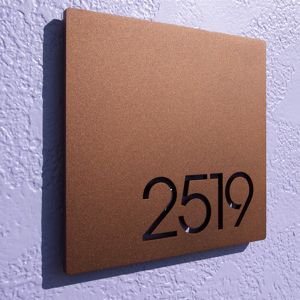 Custom minimalist square house number sign in powder for House sign designs