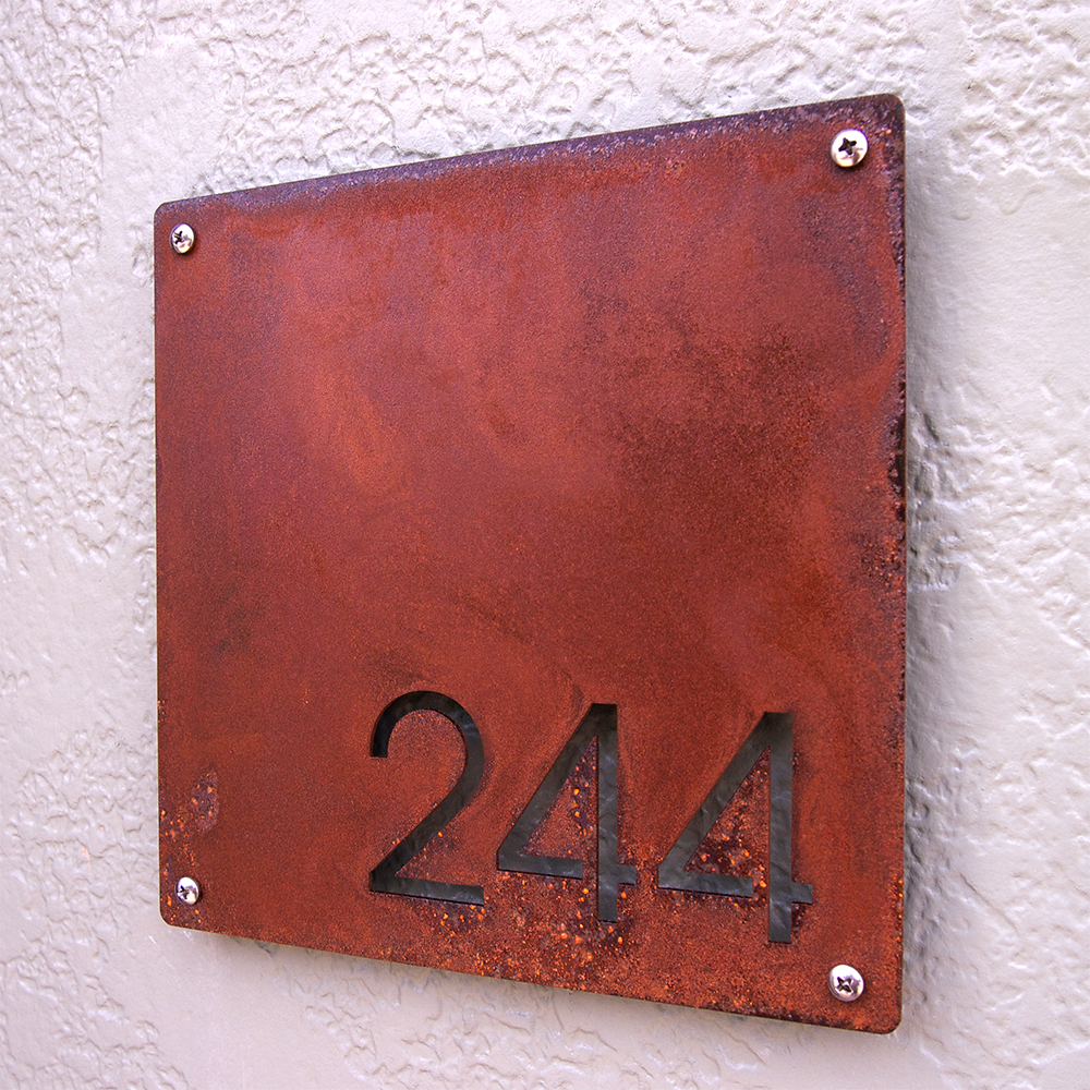 Custom Minimalist Square House Number Sign In Rusted Steel