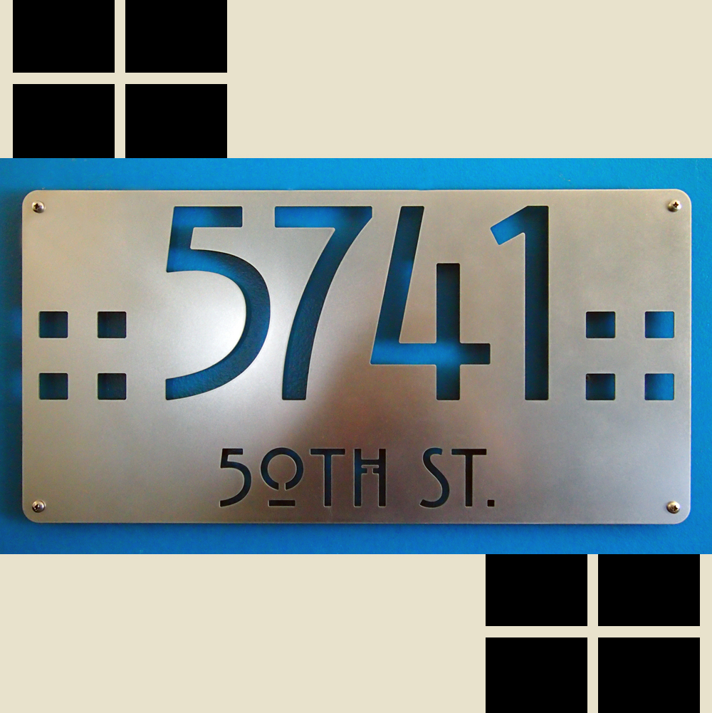 CUSTOM Mission Style Deluxe Address Sign In Stainless Steel