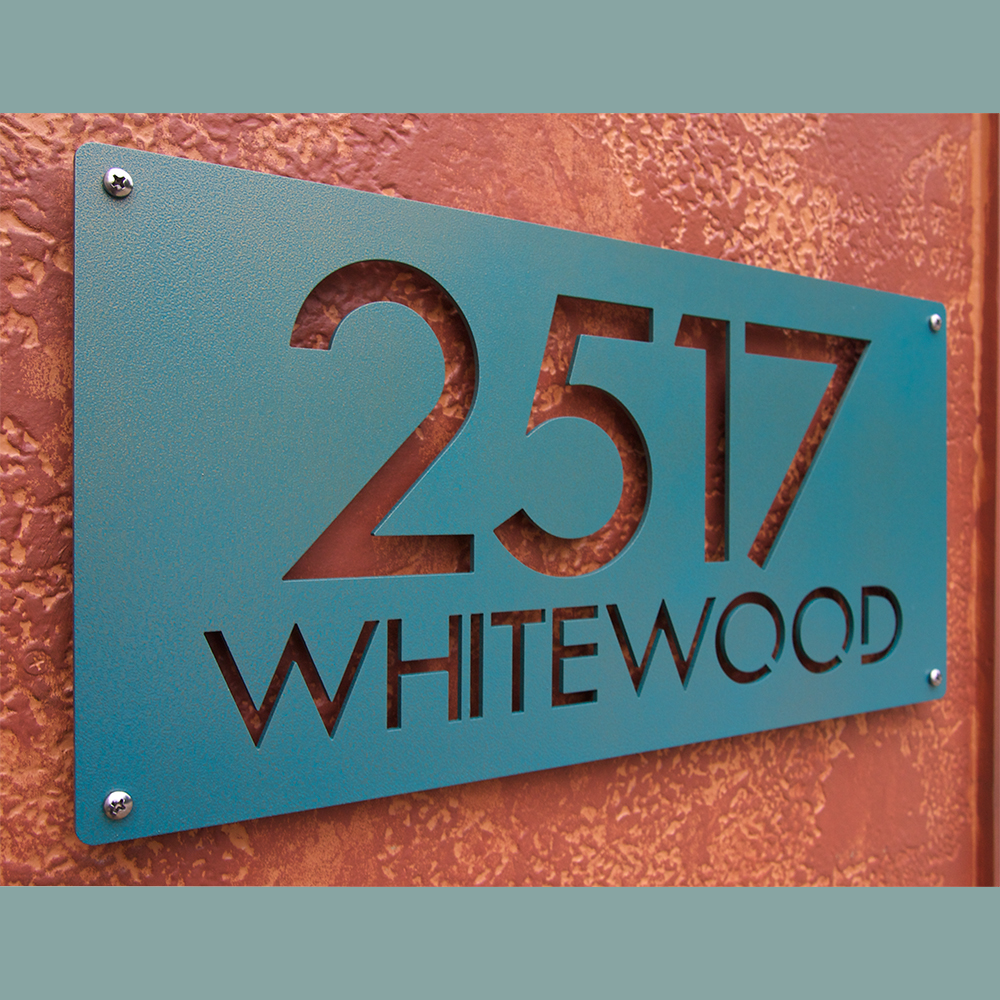 Custom Modern Deluxe Address Sign In Powder Coated Aluminum