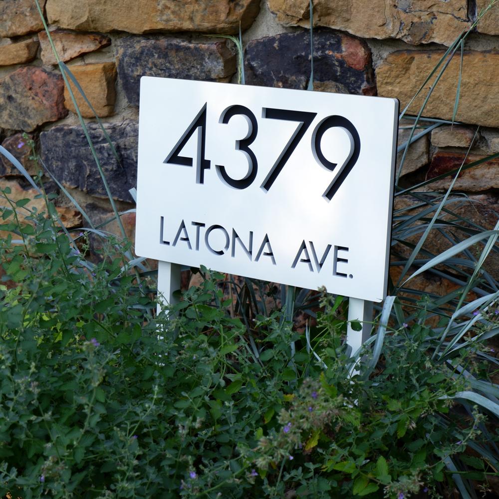 Custom Modern Deluxe Address Sign In Aluminum Ground Stakes