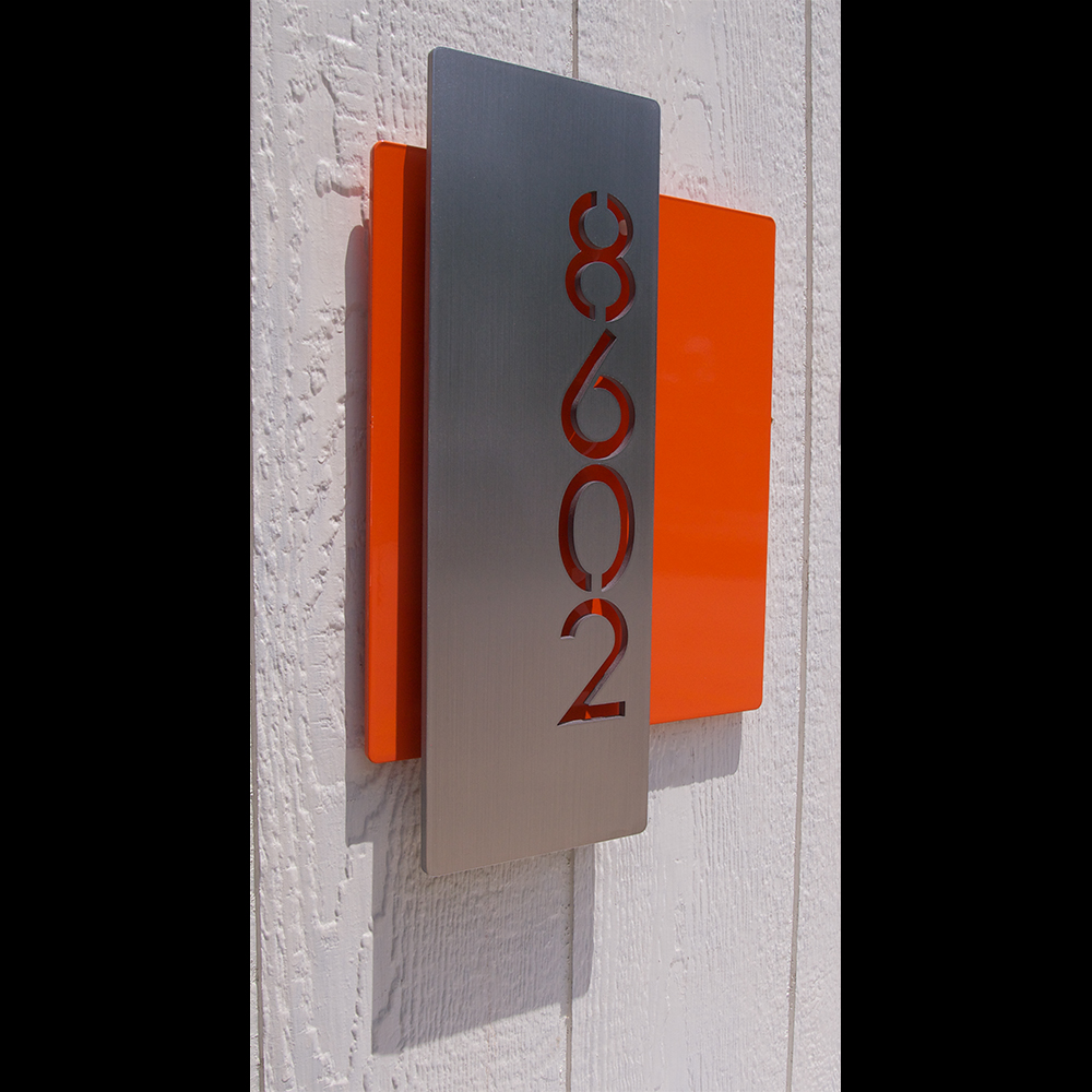 Custom modern layered floating house numbers vertical offset in stainless