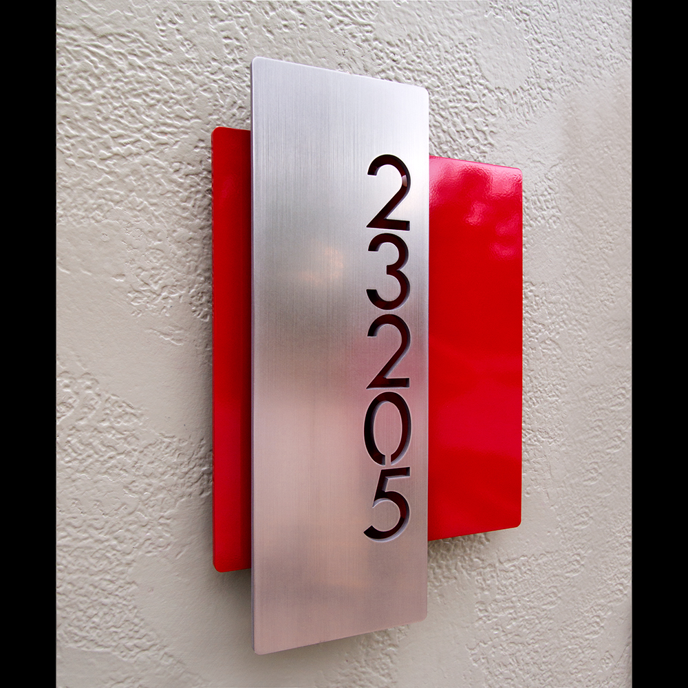Custom Modern Layered Floating House Numbers Vertical