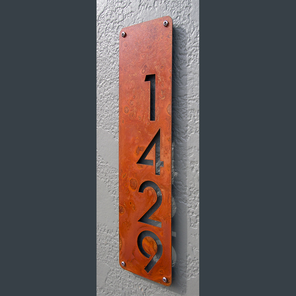 Custom modern house numbers vertical offset in rusted steel for Modern house number plaques