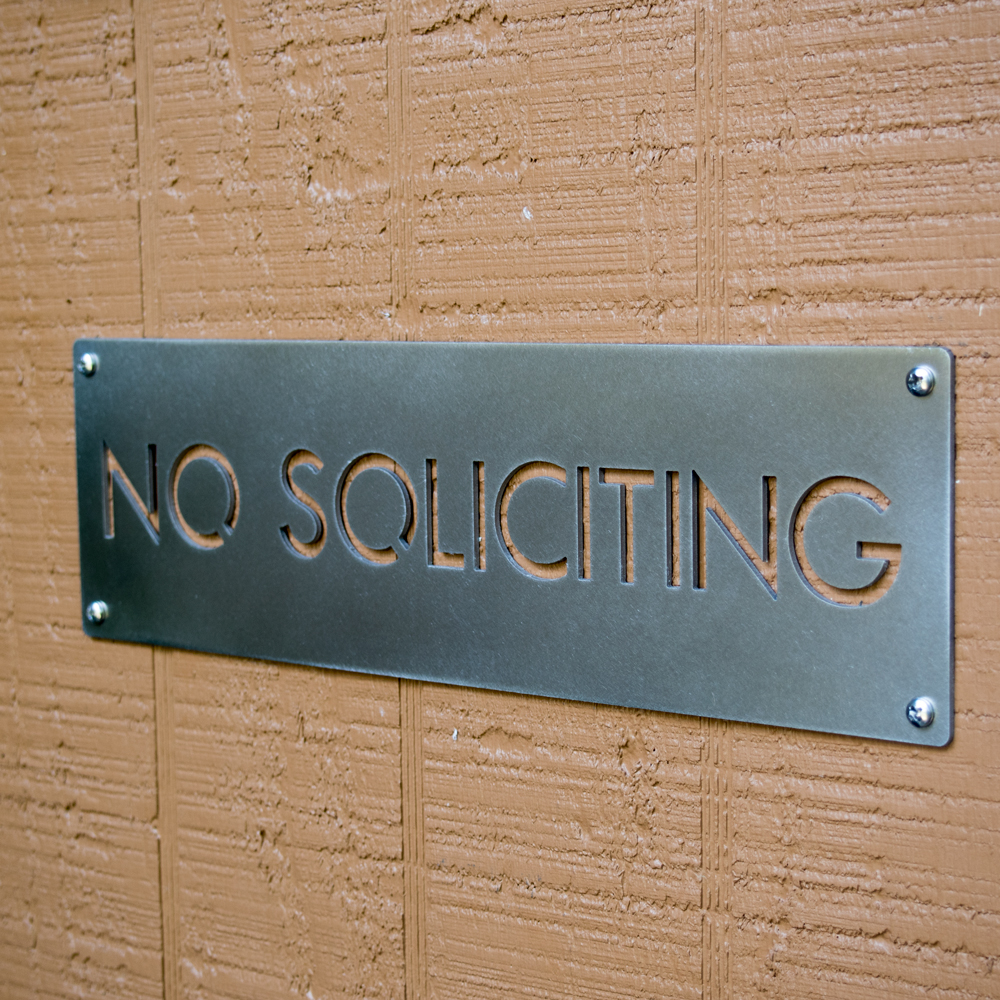 No Soliciting Sign In Stainless Steel Modern