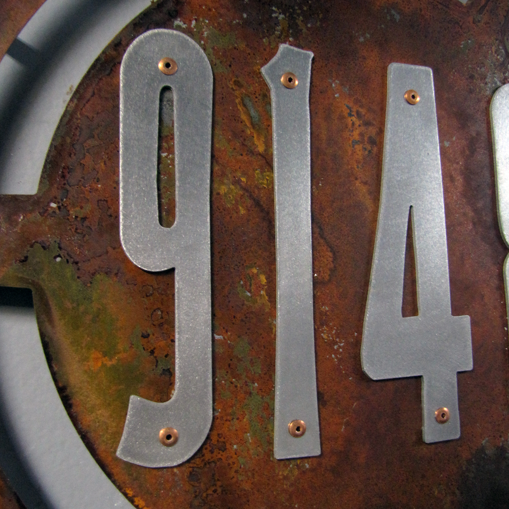 Custom Steampunk House Numbers In Rusted Steel Amp Stainless