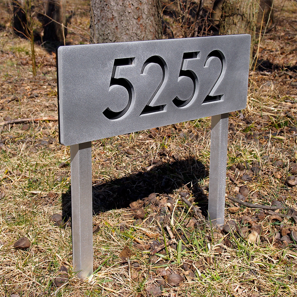 Custom Modern House Numbers Horizontal Aluminum Ground Stakes