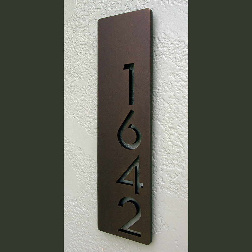 Custom modern floating house numbers vertical offset in powder coated aluminum