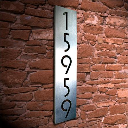 Custom Euro Floating House Numbers Vertical In Stainless