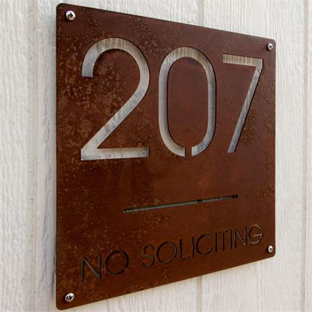 Custom Minimalist Square House Number And No Soliciting Sign In